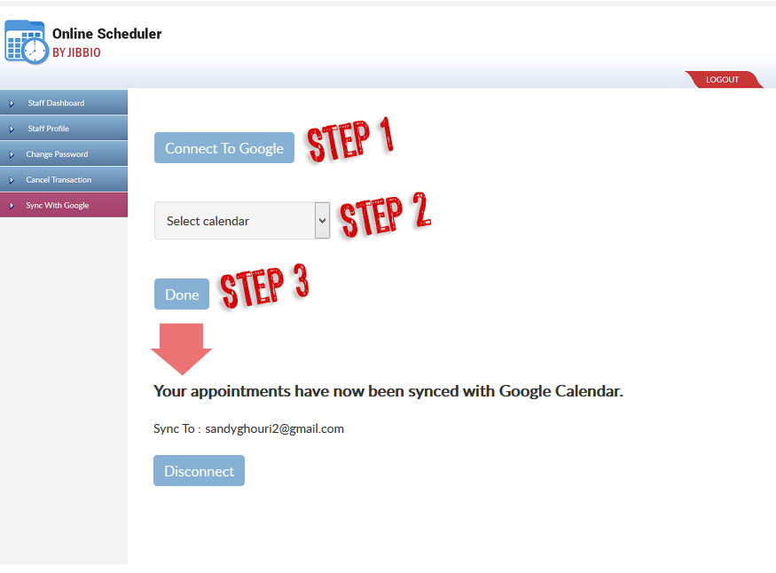 2-way sync your appointments with Google Calendar with just clicks of the mouse