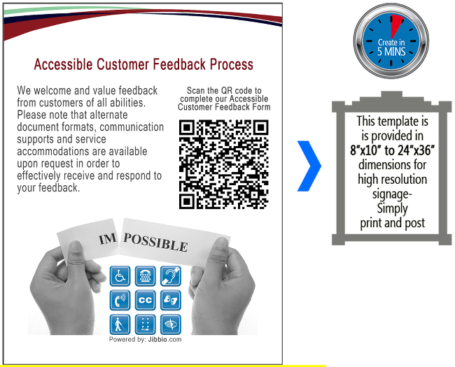 Accessible Customer Feedback Process  - We welcome and value feedback from customers of all abilities. Please note that alternate document formats, communication supports and service accommodations are available upon request in order to effectively receive and respond to your feedback. Scan the QR code to complete our ACCESSIBLE CUSTOMER FEEDBACK FORM > this QR code will take you to the Accessible Customer Feedback Form