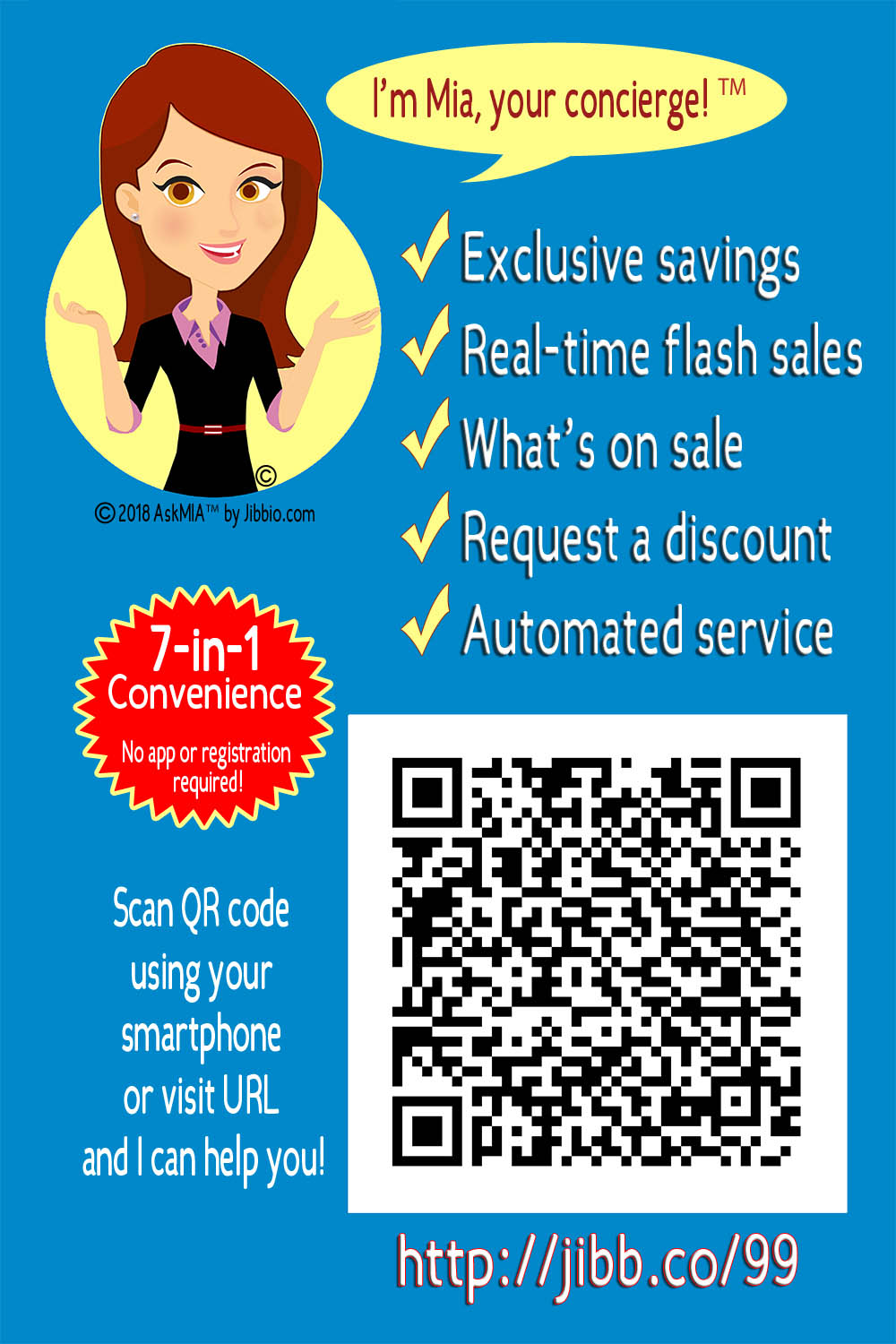 We will create an AskMIA poster with customized text for your business to post in store and print media