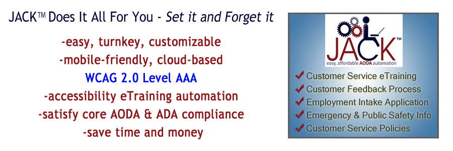 JACK will automate your AODA & IASR compliance requirements in 1 hour, and includes the Jibbio 7-in-1 eMarketing & eCommerce Suite