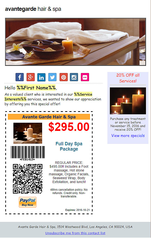 Add Online Coupons with 1-click of the mouse to your Jibbio email marketing campaigns