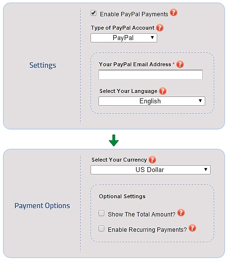 Enter a PayPal email address to collect single & recurring payments in over 15 currencies per form submission