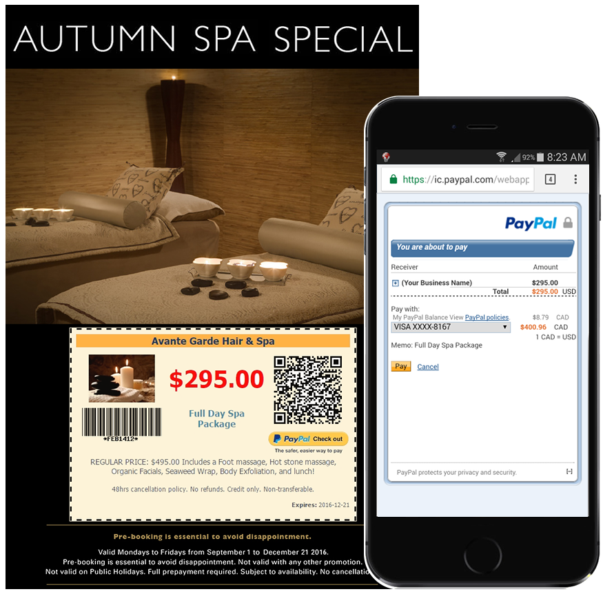 Jibbio Scan & Pay QR codes auto-generated with each eCoupon created to enable purchases from smartphones