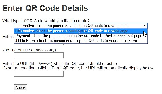 Create Informative, Payment, and Jibbio Form high-resolution QR codes in seconds