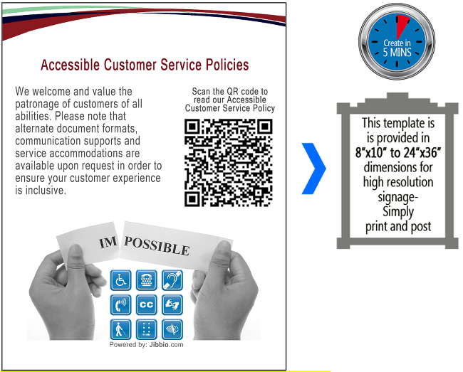 Accessible Customer Service Policy  - We welcome and value the patronage of customers of all abilities. Please note that alternate document formats, communication supports and service accommodations are available upon request in order to ensure your customer experience is inclusive.  Scan the QR code to read our ACCESSIBLE CUSTOMER SERVICE POLICY > this QR code will take you to the full Accessible Customer Service Policy