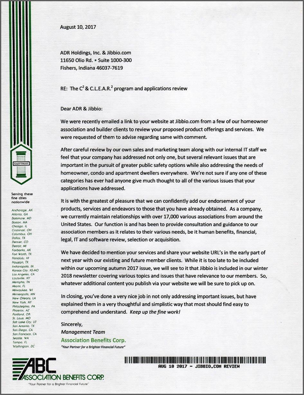 Association Benefits Corporation endorsement of Jibbio CLEAR2 and C2 applications