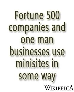 Fortune 500 companies and one man businesses use minisites in some way