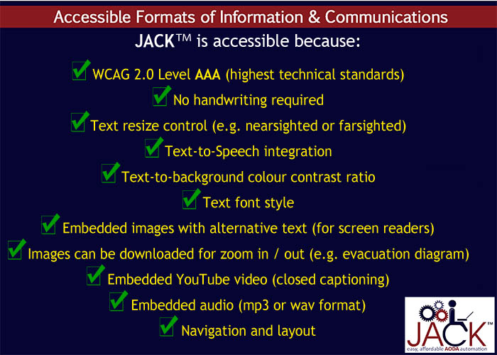JACK is accessible WCAG 2.0 Level AAA technical standards