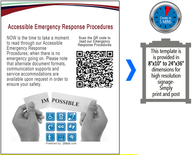 Accessible Emergency Response Procedures & Public Safety Information – NOW is the time to take a moment to read through our Accessible Emergency Response Procedures; when there is no emergency going on. Please note that alternate document formats, communication supports and service accommodations are available upon request in order to ensure your safety.  Scan the QR code to read our ACCESSIBLE EMERGENCY RESPONSE PROCEDURES