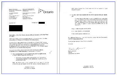 Non-compliance letter thumbnail issued by the Ontario Government