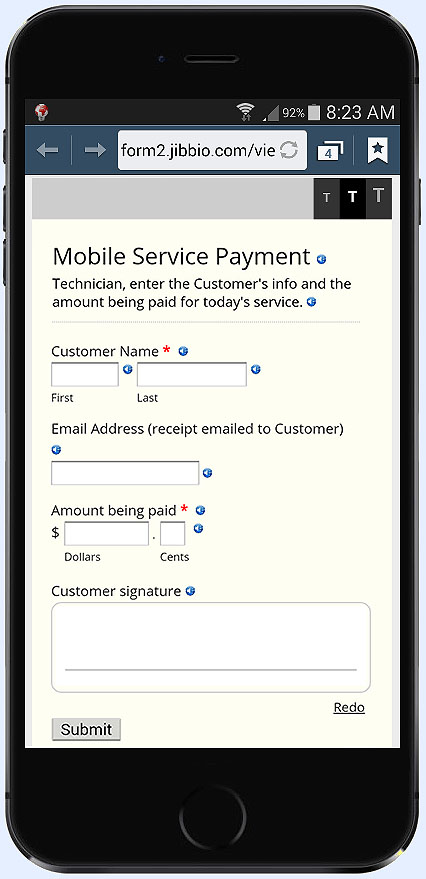 Enter an amount and collect PayPal, VISA, MC, AMEX payments from any phone, on the go - No terminals required