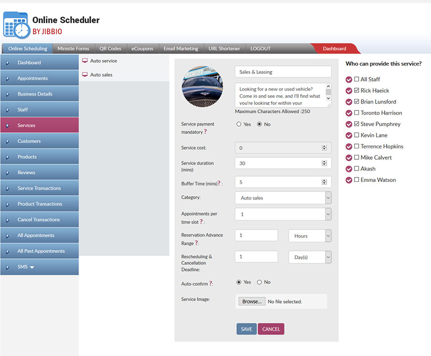 Set custom settings per service offered, to suit your business needs