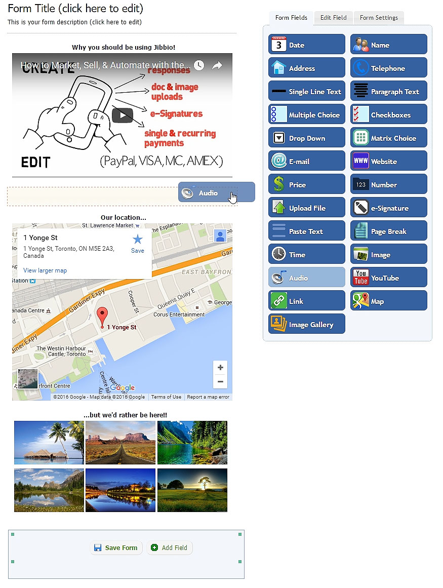 Add YouTube videos, HD Images, Photo gallery, Google maps, MP3/WAV audio clips, web links, text, & more