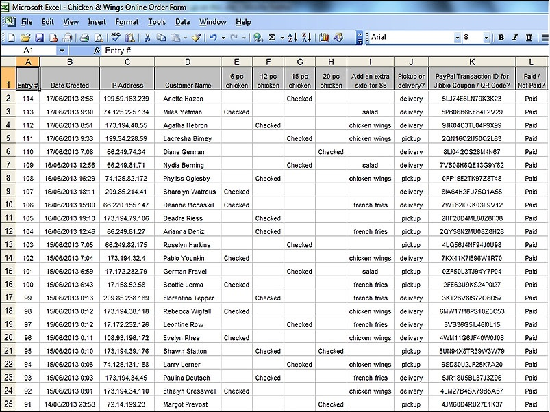 All form responses organized and parsed - Export in XLS, CSV, or TXT file formats