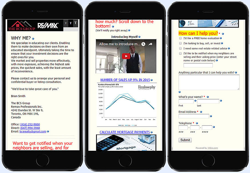 Real estate agent multimedia web & mobile minisite form for lead generation