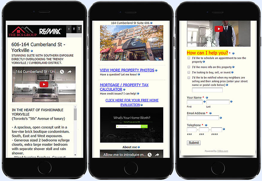 Real estate agent multimedia web & mobile minisite form for listings