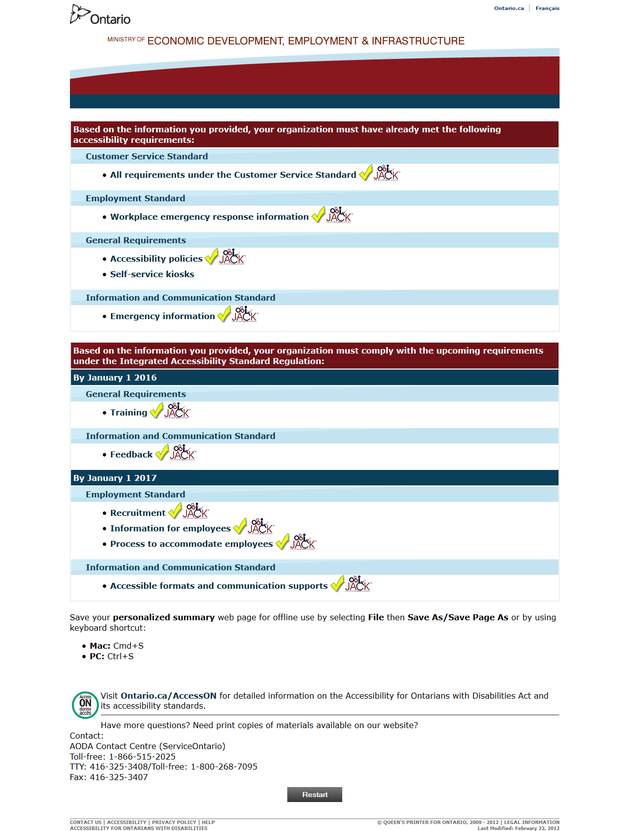 aoda compliance wizard REQUIREMENTS 20-49 employees